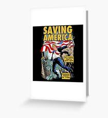 President Donald Trump Saving America Comic Cover Greeting Card