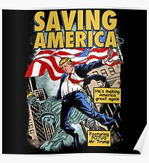 President Donald Trump Saving America Comic Cover Poster