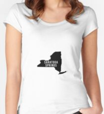 Saratoga Springs, New York State Silhouette Women's Fitted Scoop T-Shirt