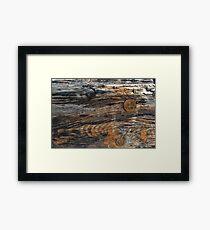 Aged rough wood background Framed Print