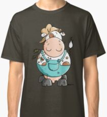 Farmer Cow Cartoon Classic T-Shirt