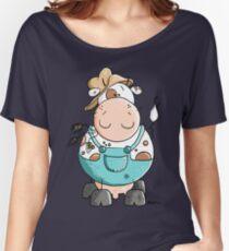 Farmer Cow Cartoon Women's Relaxed Fit T-Shirt