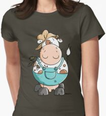 Farmer Cow Cartoon Womens Fitted T-Shirt