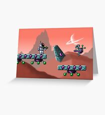 Retro Video Game Art - Alien Encounter Greeting Card