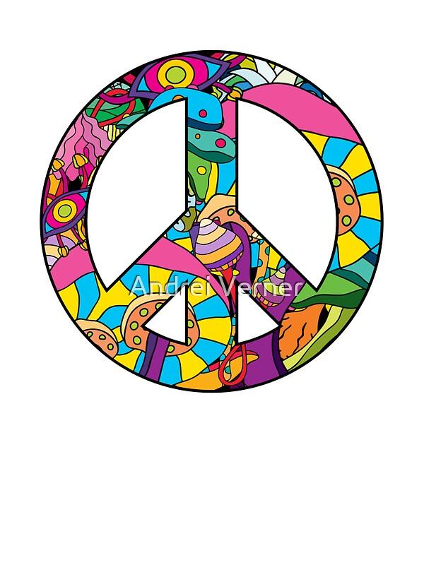 Magic Mushroom Pattern Hippie Peace Symbol Stickers By Andrei