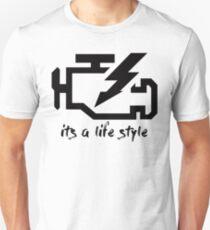 check engine life style - Black T-Shirt
