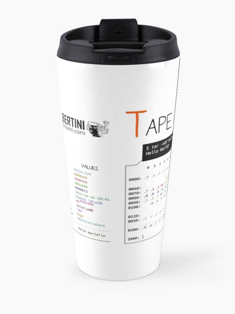Alternate view of .TAR: the Tape Archive Travel Mug