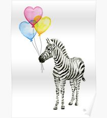 Zebra Watercolor Baby Animal with Balloons for Nursery Poster
