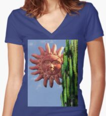 Sun Behind The Cactus  Women's Fitted V-Neck T-Shirt