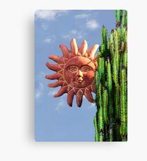 Sun Behind The Cactus  Canvas Print