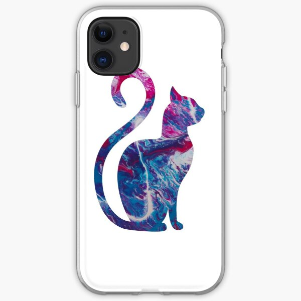 Smaller abstract funky cat iPhone Soft Case