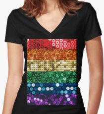 sequin pride flag Women's Fitted V-Neck T-Shirt