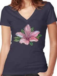 pink  watercolor flowers, pointillism drawing Women's Fitted V-Neck T-Shirt