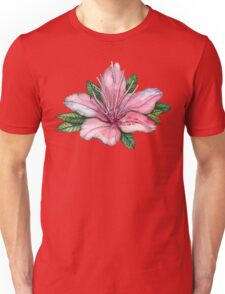 pink  watercolor flowers, pointillism drawing Unisex T-Shirt