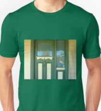 Door with glass panel inset and glass side panel. Unisex T-Shirt