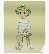 Boy Sitting on Stool Poster