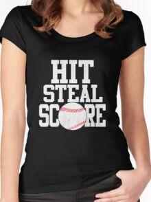 Hit Steal Score Baseball Player T Shirt Women's Fitted Scoop T-Shirt