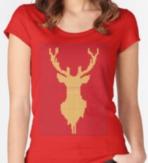 Knitted yellow Deer  Women's Fitted Scoop T-Shirt