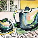 Milk jug and teapot not speaking to each other.  by Evelyn Bach