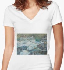 Refuelling at sea. Women's Fitted V-Neck T-Shirt