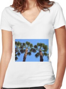 Tall palm trees Women's Fitted V-Neck T-Shirt