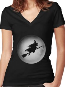 DARK NIGHT FLY IN THE SKY Women's Fitted V-Neck T-Shirt