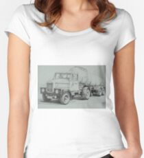 Black and white Scammell. Women's Fitted Scoop T-Shirt