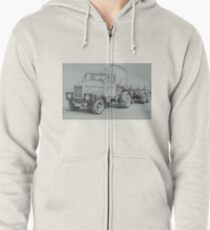 Black and white Scammell. Zipped Hoodie