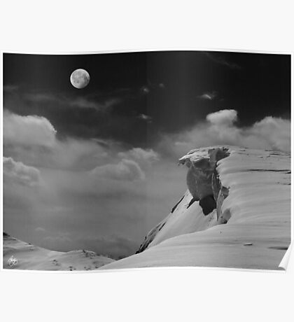 Moonrise Over a Cornice Poster