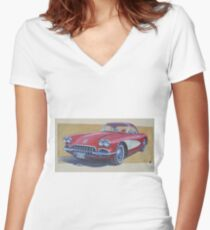 Chevy 1960 Women's Fitted V-Neck T-Shirt