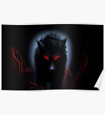 wolf black Poster