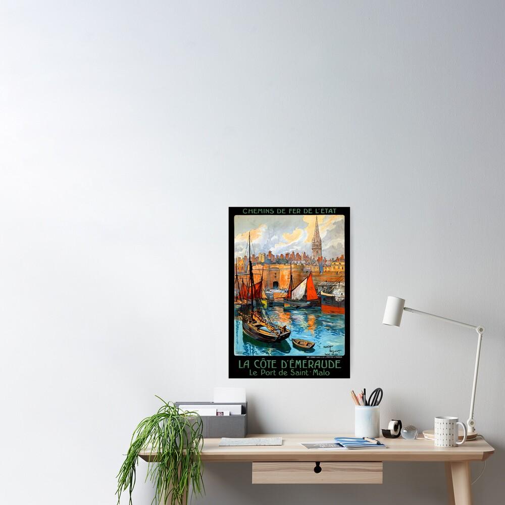 France Saint Malo Restored Vintage Travel Poster Poster