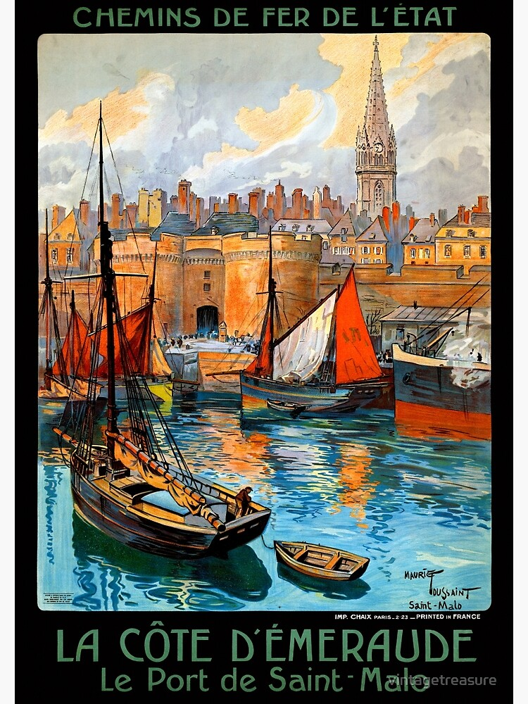 France Saint Malo Restored Vintage Travel Poster by vintagetreasure