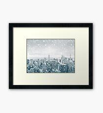 Snowfall in New York City Framed Print