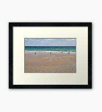 Waiting for the Tide - Layers Textures and Seagulls on Tavira Island Beach Framed Print