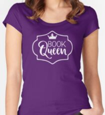 Book Queen - Bookish Graphic Designs (Flourish and Books) Women's Fitted Scoop T-Shirt
