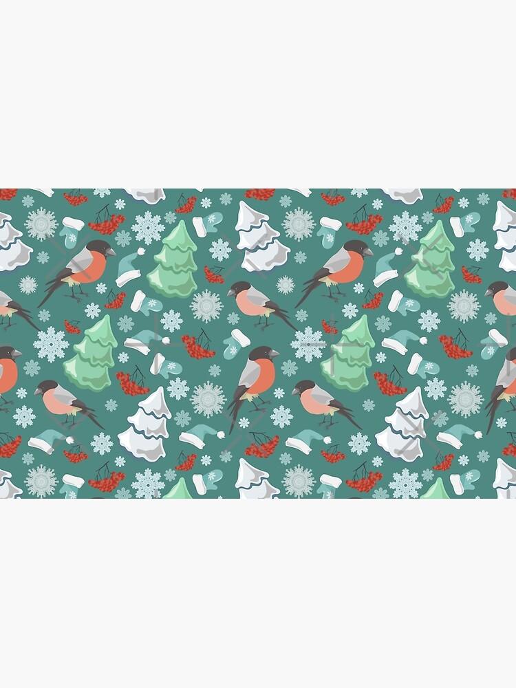 Winter birds blue pattern by JuliaBadeeva
