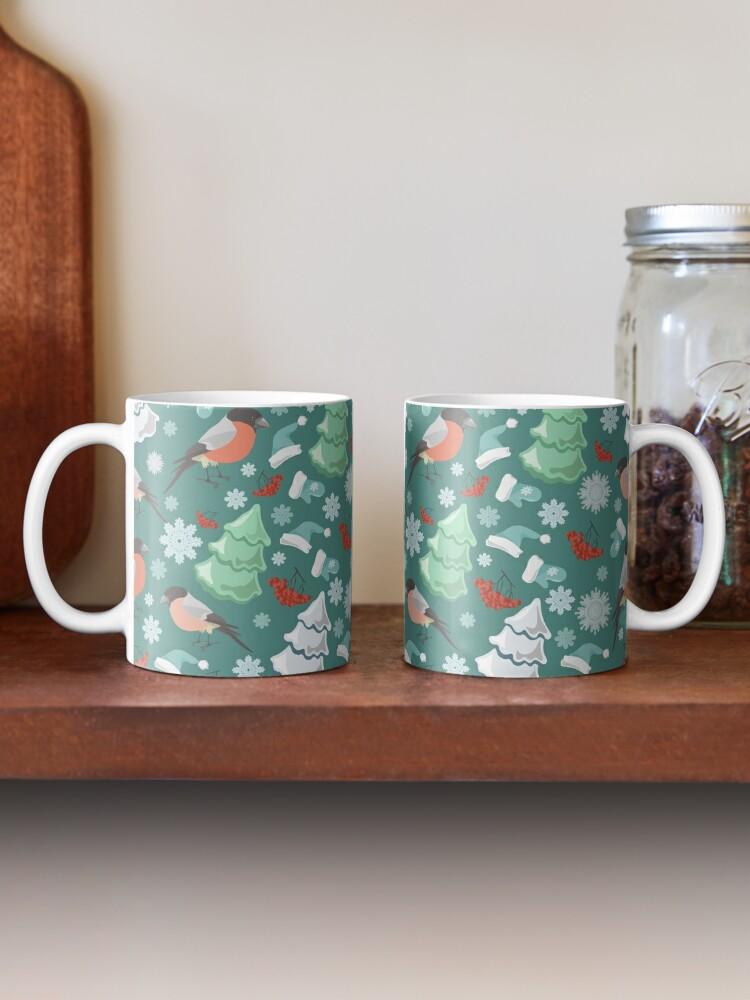 Alternate view of Winter birds blue pattern Mug