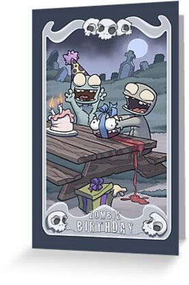 Zombie birthday greeting cards by dooomcat redbubble zombie birthday by dooomcat bookmarktalkfo Images