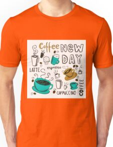 Hand Drawn Coffee Cups Unisex T-Shirt