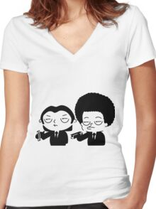 Stewie and Ralo - pulp fiction Women's Fitted V-Neck T-Shirt