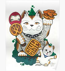 Tattooed Lucky Cat Poster