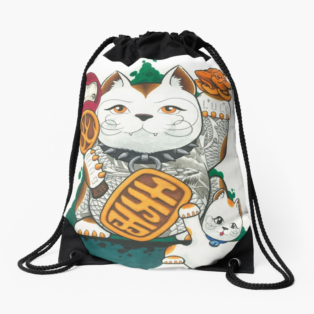 Tattooed Lucky Cat Drawstring Bag