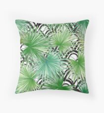 Exotic Watercolor Leaves Pattern Throw Pillow