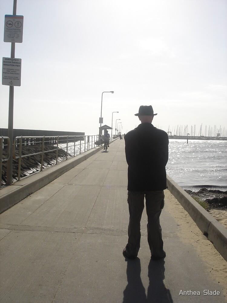 Man on Pier by Anthea  Slade