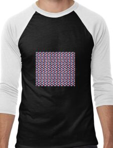 black background white red blue cubes pattern Men's Baseball ¾ T-Shirt