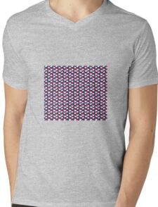 black background white red blue cubes pattern Mens V-Neck T-Shirt