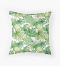 Watercolor Exotic Leaves Pattern Throw Pillow