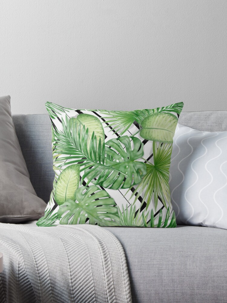 Watercolor Exotic Leaves Pattern by mariapirogova