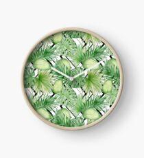 Watercolor Exotic Leaves Pattern Clock